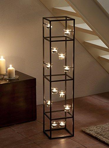 XL Designer Teelichthalter Kerzen-Ständer Glas Metall Teelichtgläser - großer Turm für Teelichter mit Teelichthaltern aus Echtglas - exklusive Dekoration für Innen- und Außenbereich -