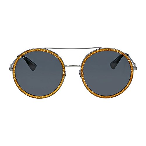 Gucci Round Yellow Glitter Metal - Gg0061s Gucci Sunglasses