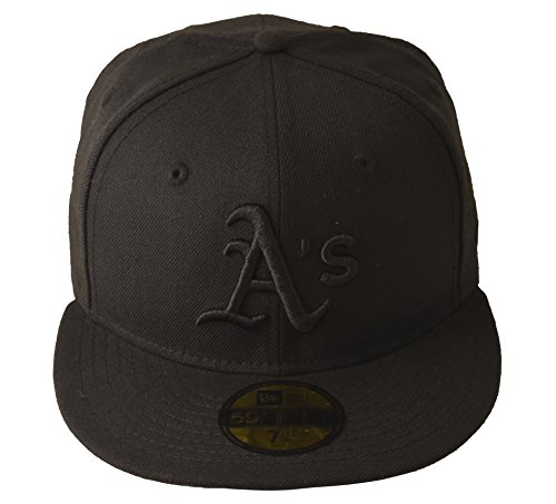 fan products of MLB Oakland Athletics Black on Black 59FIFTY Fitted Cap, 7 1/4