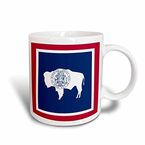 3dRose (mug_159831_2) Flag of Wyoming WY - US American United State of America USA. Red White Navy blue bison seal stamp - Ceramic Mug, 15-ounce