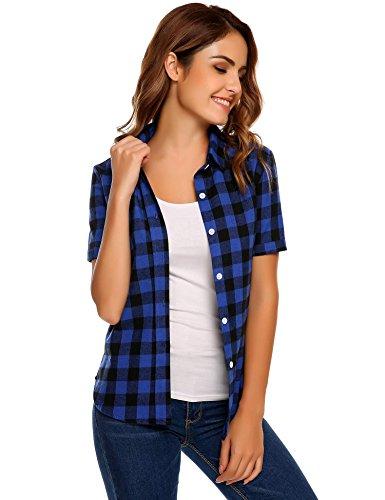 SoTeer Women Summer Short Sleeve Boyfriend Plaid Button Down Shirts