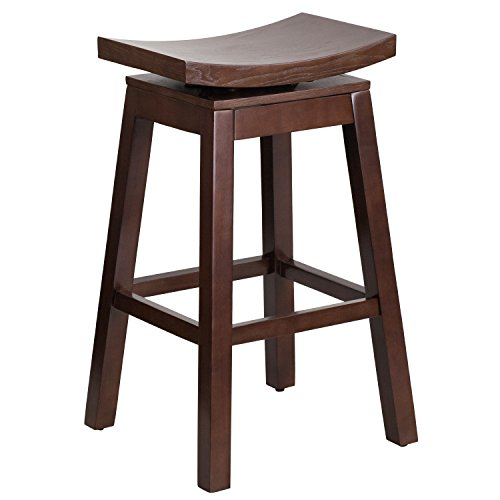 (Flash Furniture 30'' High Saddle Seat Cappuccino Wood Barstool with Auto Swivel Seat Return)