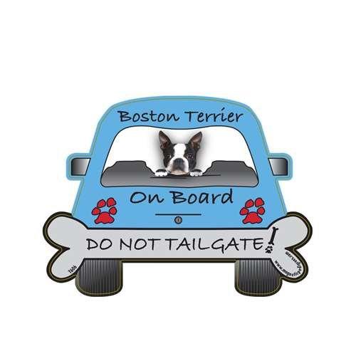 (Boston Terrier Tailgate Custom Shaped Magnet)