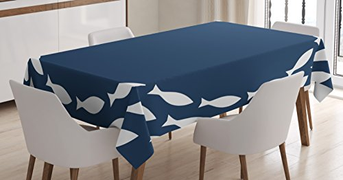 Navy Fish - Ambesonne Navy Blue Decor Tablecloth, Ocean Navy Themed School of Cute Fish Swimming in a Circle Print, Dining Room Kitchen Rectangular Table Cover, 60 W X 90 L inches, Navy Blue