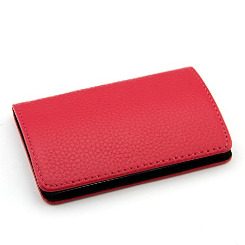 Partstock(TM) High Quality Genuine Leather & Stainless steel Business Name Card Holder Wallet Luxury Smooth Cowhide Leather Credit card ID Case / Holder 22 Name Cards Case For Women & Ladys with Magnetic Shut.(Rose red)