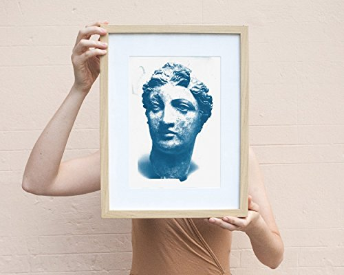 (Cyanotype Print, Greek Terracotta Head of a Woman, A4 size)