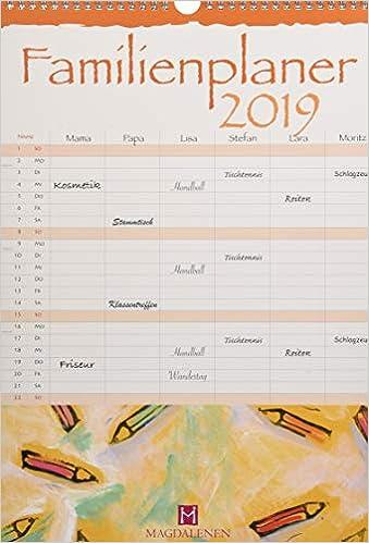 Familienplaner 2019 Mit Mondphasen Und Ferien Amazon Fr