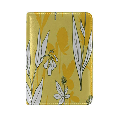 Passport Cover Case Calendula White Vintage Hand Drawn Leather&microfiber Multi Purpose Print Passport Holder Travel Wallet For Women And Men 5.51x3.94 In