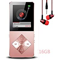 Mp3 player, Music Player, Hotechs Hi-Fi Sound , with FM Radio, Recording Function Build-in Speaker Expandable Up to 64GB with Noise Isolation Wired Earbuds (Rose gold-16G)
