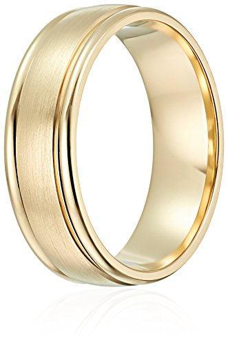 Mens-10k-Gold-Comfort-Fit-Round-Edge-Plain-Wedding-Band-with-Satin-Center-6-mm