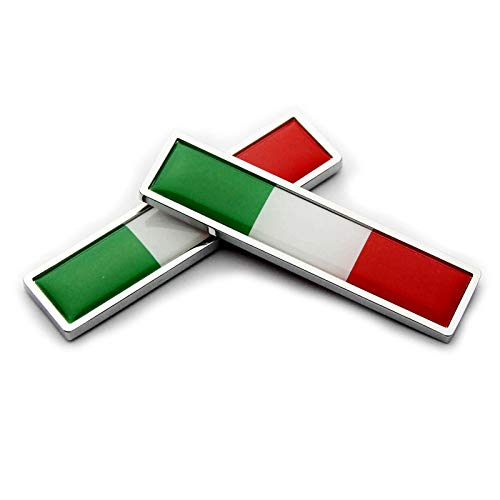 (2Pcs Metal Italy Italian flag Premium Car Body Side Fender Rear Trunk Emblem Badge Decals for Universal All Cars (A))