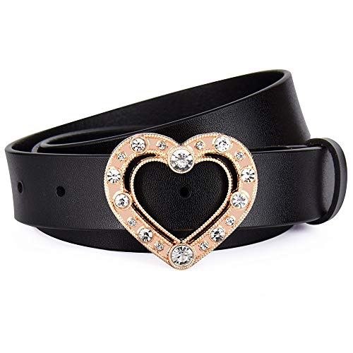 Rhinestone Buckle Heart Belt - Talleffort Genuine Leather Belts for Women Heart Rhinestone buckle Belt for Jeans Pant Dresses (Black, Suit Pant size 29-33Inch)