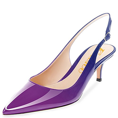 Pointed Ankle 6 Party Heels Evening Slingback Sandals Strap Shoes Low Pumps Kmeioo Purple Pumps Toe 5CM Blue Wedding patent Heel Kitten wS0xagqt