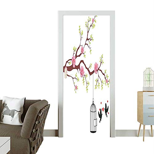 Door Sticker Blossomed ROS and Fly Love He and Cage Couple Ative Brown White Removable Door Decal for Home DecorW32 x H80 -