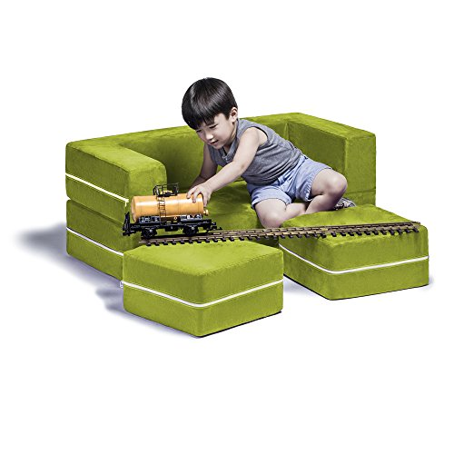 Jaxx Zipline Kids Modular Loveseat & Ottomans / Fold Out Lounger, Lime