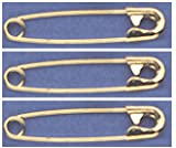"SAFETY PINS Size 2 (1 1/2"") GOLD TONE BULK PK/100 Made in USA"