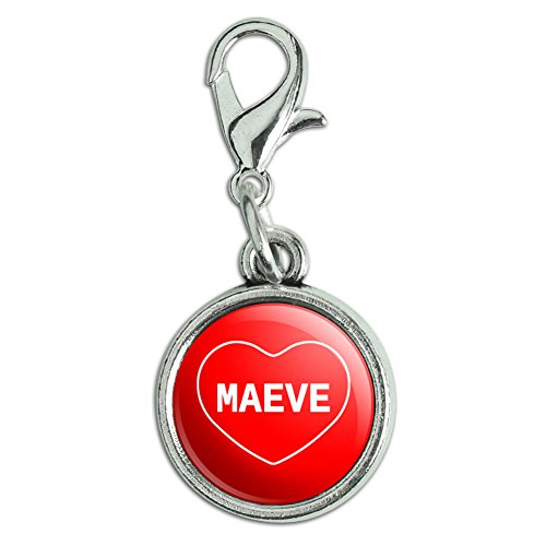 Mabe Clasp - Antiqued Bracelet Charm with Lobster Clasp I Love Heart Names Female M Mabe - Maeve