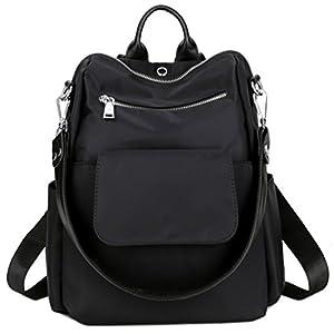 TOPSHINE Women Backpack Purse Water Resistant Nylon Ladies Rucksack with Earphone Hole Shoulder Bag (BLACK)