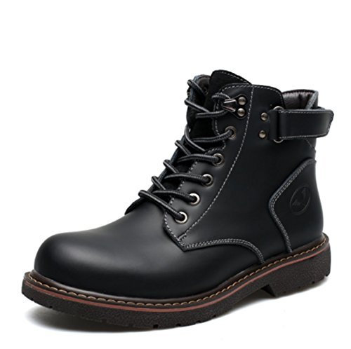 2017 New Men's Martin Boots Casual Mid Boots Non - Slip Comfort Cowhide Retro Hiking Military Tactical Shoes Black 0y5ySC03