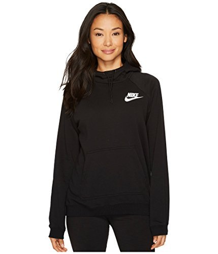 NIKE Womens Rally Pull Over Hoodie Black/White AA1539-010 Size Large