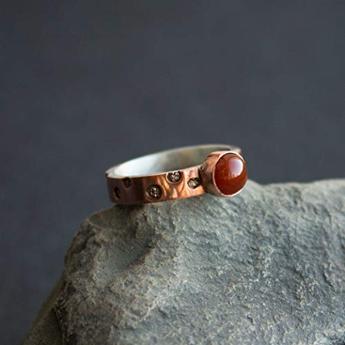 - Sterling silver and copper ring - Carnelian ring- Cornelian ring.