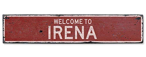 (HarrodxBOX Welcome to Irena Vintage US Irena, Missouri Distressed Custom City Sign Metal Signs Funny Aluminum Sign for Garage Home Yard Fence Driveway )
