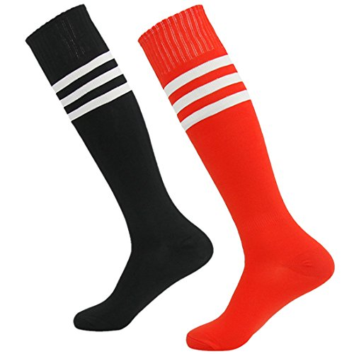 Time and River Baseball Long Tube Socks, Youth Football Socks Classic Knee High Compression Socks Red and Black 2 (Youth Nylon Pro Football Sock)