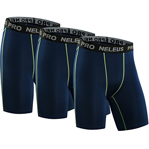 Neleus Men's 3 Pack Compression Short,047,Navy Blue,US L,EU XL
