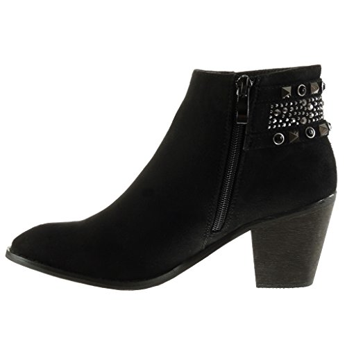 Ankle Jewelry Heel Women's Cavalier Studded High Black cm Angkorly Fashion Booty Shoes 7 Block Boots Rhinestone qTctw1U