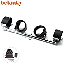 Bekinky Metal Spreader Bar with 4 Leather Adjustable Straps Set, Black Straps and Silver Bar