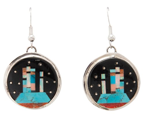 Navajo Native American Turquoise Inlay Butte Earrings by Gilbert (Smith Turquoise Earrings)