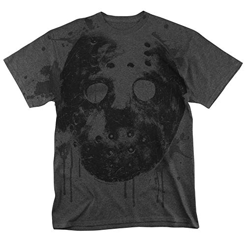 Friday The 13th Movie Jason Mask All Over T Shirt & Stickers (Large) Charcoal]()