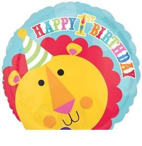 "CIRCUS Lion JUNGLE Tent Big Top #1 1st 18"" Happy Birthday PARTY Mylar BALLOON"