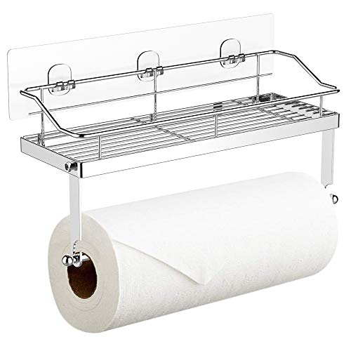 Adhesive Paper Towel Holder with Shelf Storage, Wall Basket for Kitchen & Bathroom Accessories- SUS 304 Stainless Steel, Rustproof No Drilling
