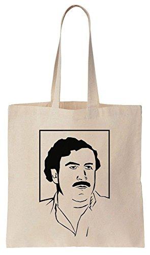 Line Art Portrait Of Pablo Escobar Sacchetto di cotone tela di canapa