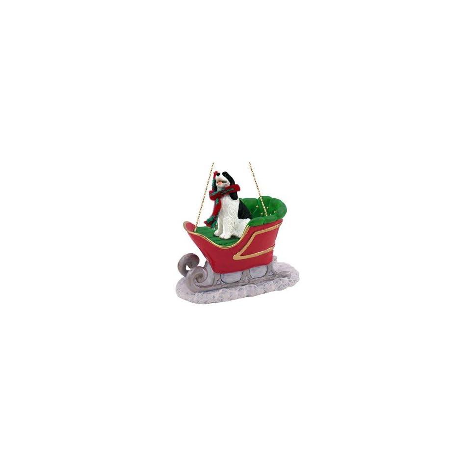 SPANIEL Dog Black/White on a SLEIGH RIDE Christmas Ornament NEW SLD22B