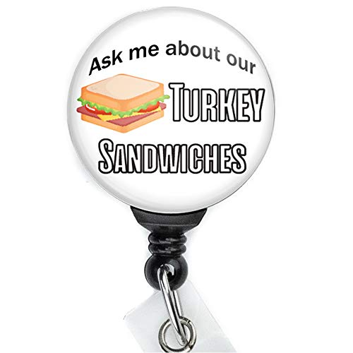 Turkey Sandwich Retractable Badge Reel with Swing Clip and 36 Inch Cord