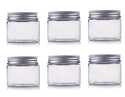 (250ml / 8Oz Jars PET Plastic Empty Cosmetic Containers Jars Cases with Silver Aluminum Lid Cream Lotion Box Ointments Bottle Food Bottle Makeup Pot Jar 6 Pack (8Oz/250ml))