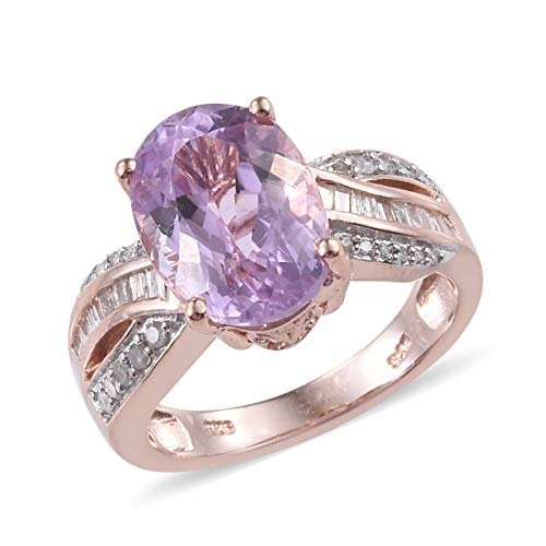 Kunzite Diamond Ring 925 Sterling Silver Vermeil Rose Gold Gift Jewelry for Women Size 7 Ct 7