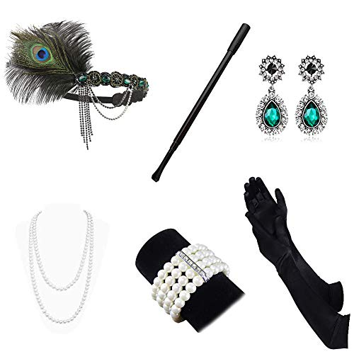 AutoWT 1920s Flapper Accessories Set for Women Great Gatsby Costume Headband Earrings Necklace Gloves Cigarette Holder (G1)