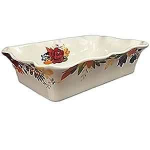 Pioneer Woman Flea Market Rectangular Ruffle Top Ceramic Bakeware White Floral 3.6 Quart