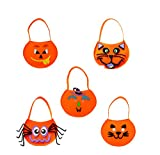 Value Pack Halloween Funny Expression DIY Pumpkin Tote Bag Children Trick or Treating Candy Bag Gift Bag