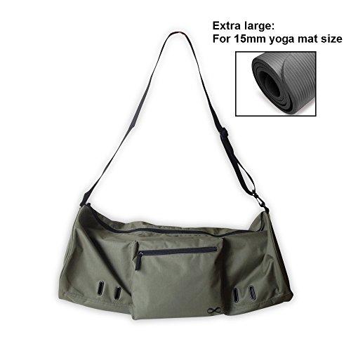 "YogaAddict Yoga Mat Bag (Extra Large) 'Compact' With Pocket, Fits all 15mm Yoga Mat and Jade/Manduka Mat Size, 29\"" Long, Easy Access - Olive Green"