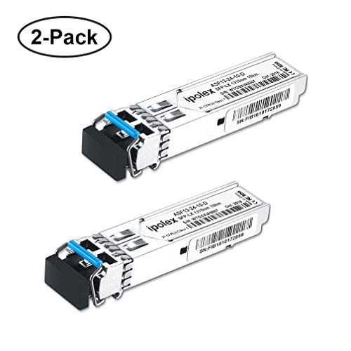 (ipolex 2-Pack 1000Base-LX Gigabit Single-mode SFP LX Transceiver Module Compatible for Cisco GLC-LH-SMD, Ubiquiti, D-Link, Supermicro, Netgear, Mikrotik Devices (SMF, 1310nm, 10km, LC, DDM))