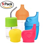 5 Packs Silicone Sippy Cup Lids with Spill-proof design for Babies and Toddler Prefer for Cup Size Φ 2.17''-3.54''