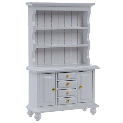 SODIAL(R) Bibliotheque Cabinet Multifonctionnel en Bois Mobilier Miniature pour 1/12 Maison de Poupee - Blanc