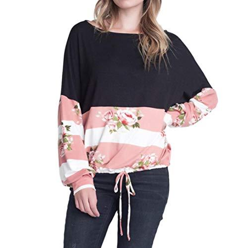 Floral Femme en Bringbring Lacets T Shirt Imprim Shirt Top Rose Vrac Chemisier Longues Manches cBgXWqB