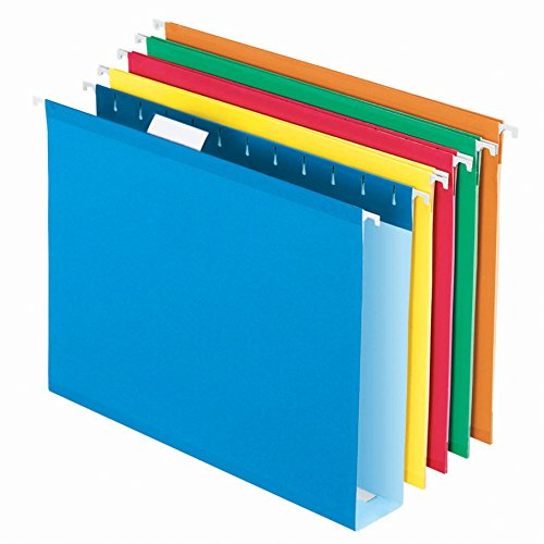 "Pendaflex Extra Capacity Reinforced Hanging Folders, 2"", Letter Size, Assorted Colors, 1/5 Cut, 25/BX (4152x2 ASST)"