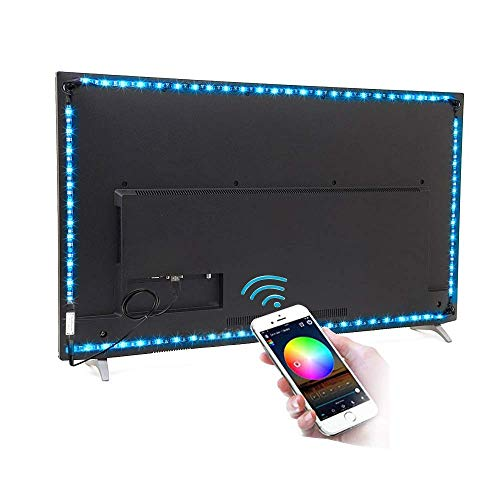 comboss TV Backlight Kit, 9.84ft 90 LEDs 5050 RGB Bluetooth Smartphone APP Control Flexible Rope Light for 46 inch~70 inch HDTV, Furniture, Room