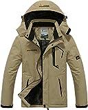 Waterproof Jacket Men Windproof Jacket Sports Winter Jacket Fleece Outdoor Skiing Snowboarding Jacket with Hood Khaki
